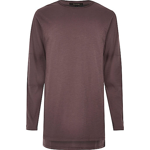 Purple longline long sleeve T-shirt