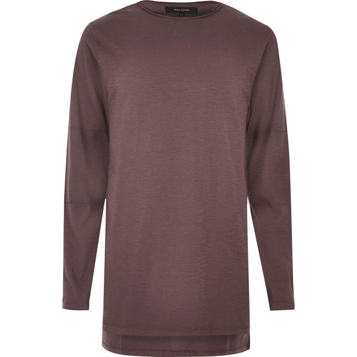 Purple longline long sleeve T-shirt