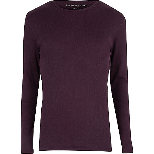 Purple ribbed slim fit T-shirt