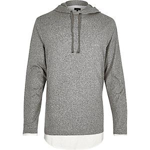 Gemêleerd grijze lange gelaagde hoodie
