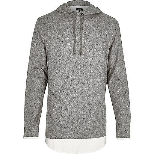 Grey marl longline layered hoodie