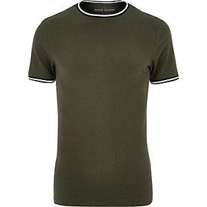 Figurbetontes T-Shirt in Khaki mit Farbkontrast