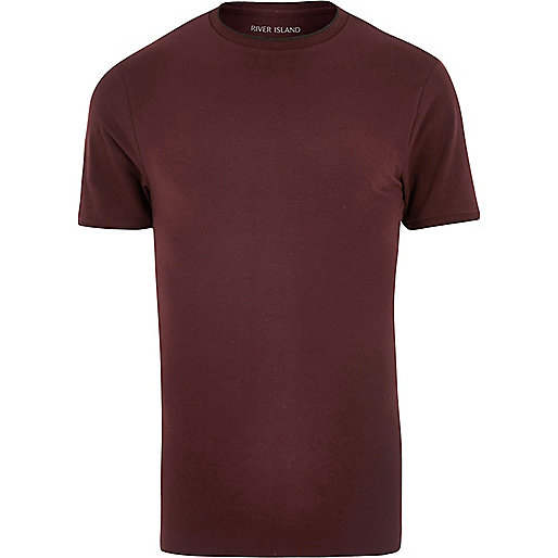 Burgundy tipped muscle fit T-shirt