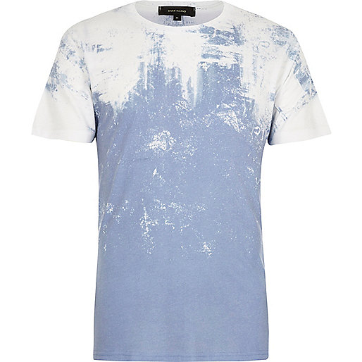 White and blue textured faded print T-shirt