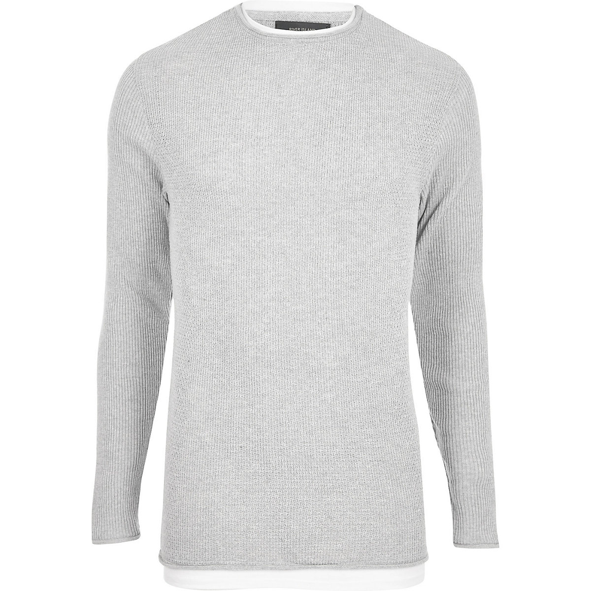 Grey double layer slim fit sweater