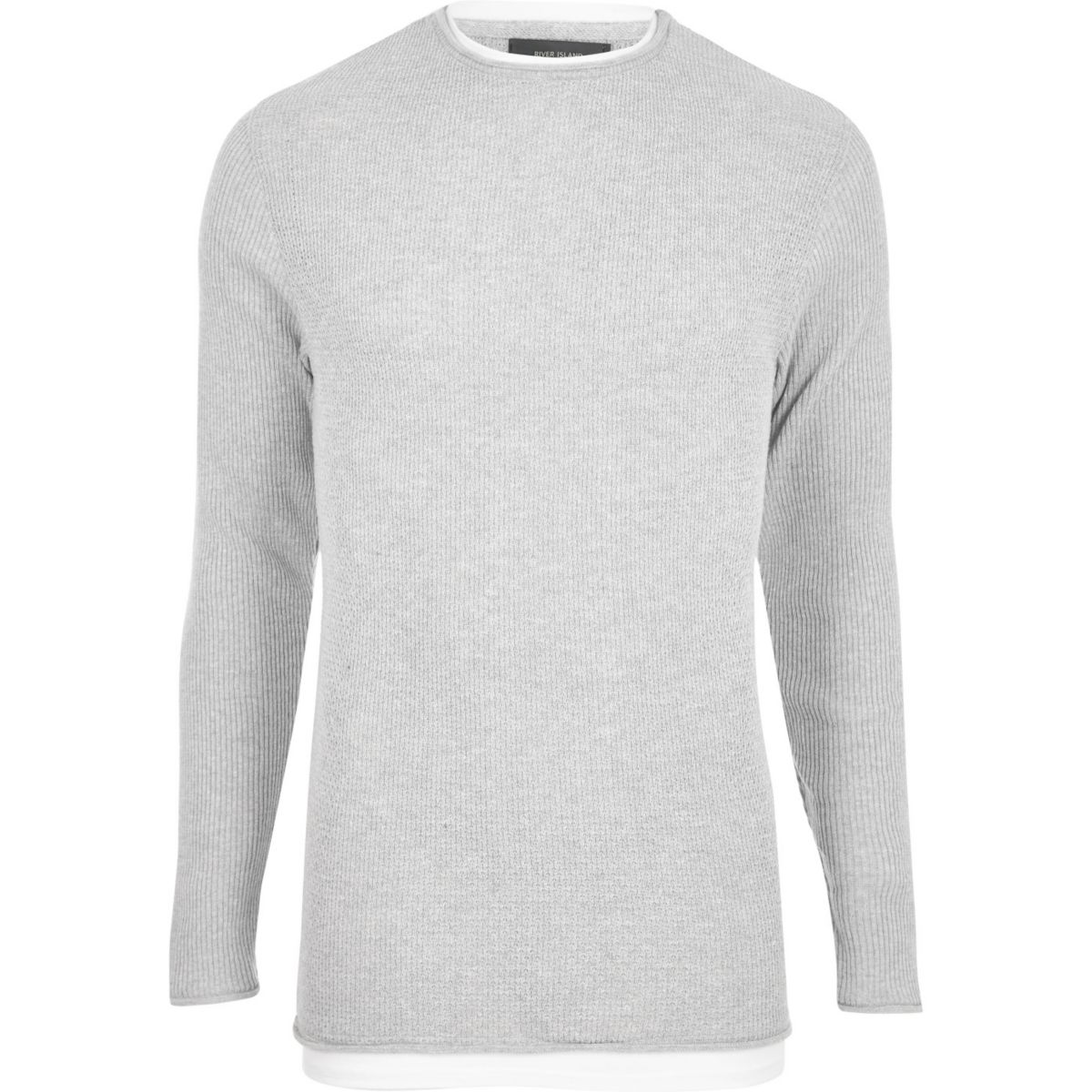 Grey double layer slim fit jumper