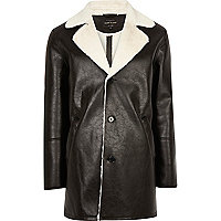 Black leather look shearling lined coat