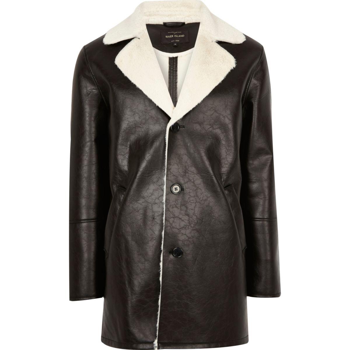 Manteau en cuir synthétique noir doublé en peau lainée