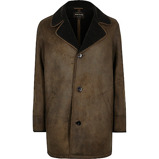 Khaki brown shearling lined coat
