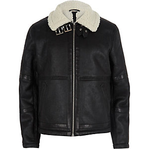 Black leather look aviator jacket