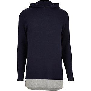 Navy layered longline hoodie