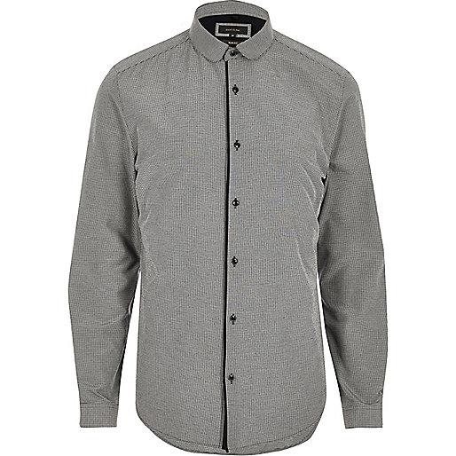 Graues, elegantes Slim Fit Hemd mit Clubkragen
