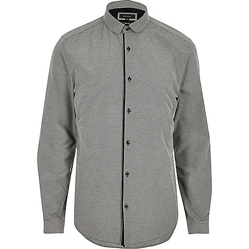 Grey penny collar smart slim fit shirt