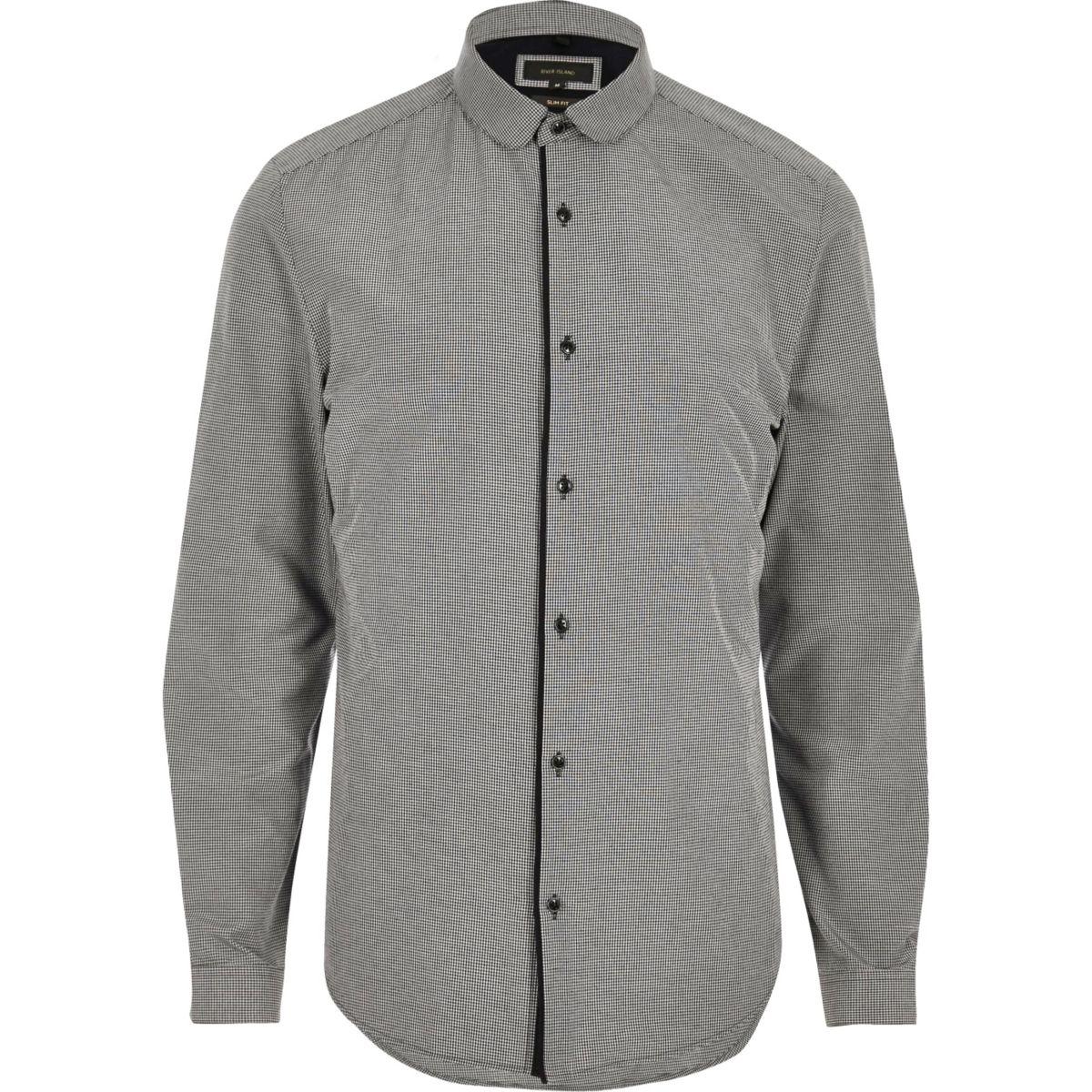 Grey penny collar smart slim fit shirt