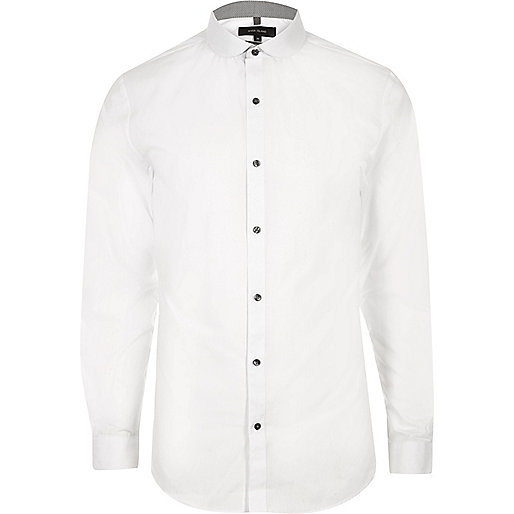 White penny collar formal slim fit shirt