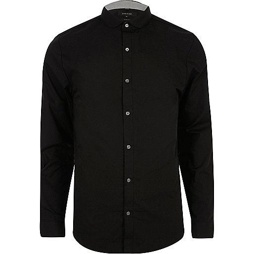 Black penny collar smart slim fit shirt