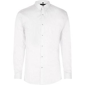 Wit net aansluitend overhemd