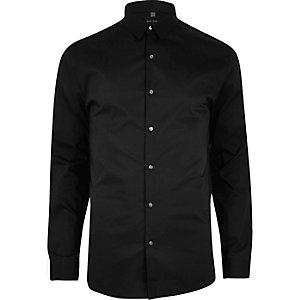 Zwart net aansluitend overhemd