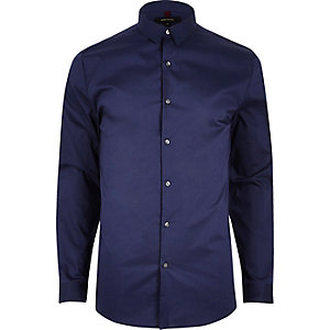 Navy blue formal muscle fit shirt