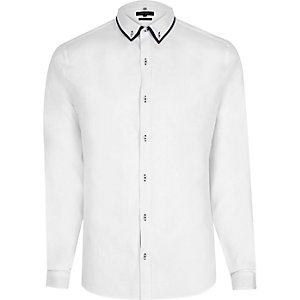 Wit net slim-fit overhemd met dubbele kraag