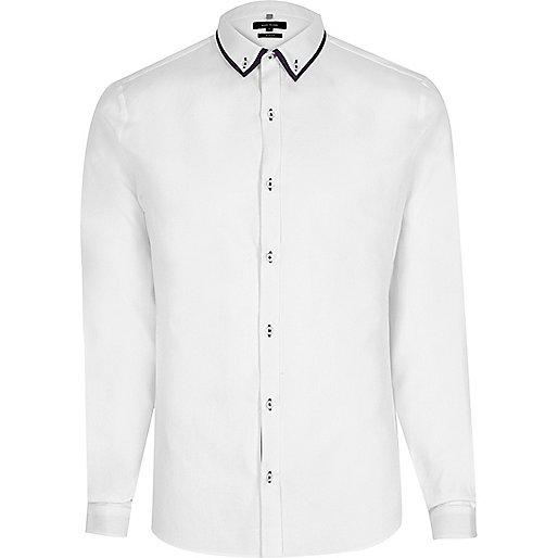 White double collar smart slim fit shirt