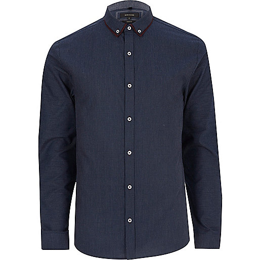 Navy smart slim fit double collar shirt