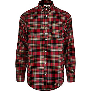 Red check plaid print casual shirt