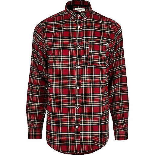 Red check tartan print casual shirt