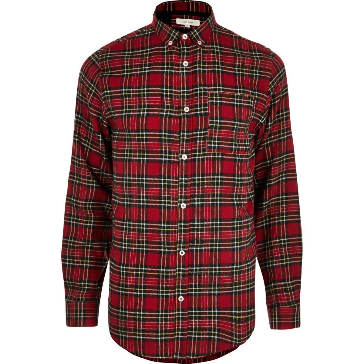 Red check plaid print casual shirt