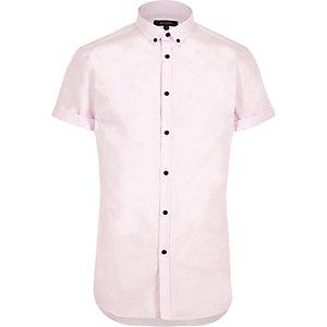 Chemise rose cintrée habillée à manches courtes