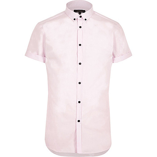 Pink smart slim fit short sleeve shirt