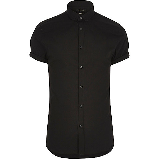 Black smart slim fit short sleeve shirt