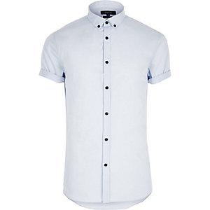 Elegantes, blaues, kurzärmliges Slim Fit Hemd