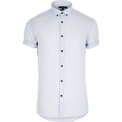 Blue smart slim fit short sleeve shirt