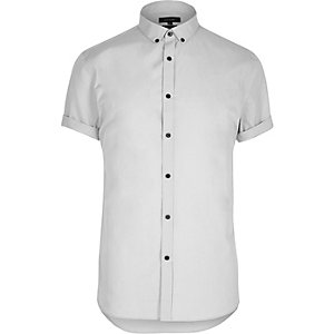Grey smart slim fit short sleeve shirt