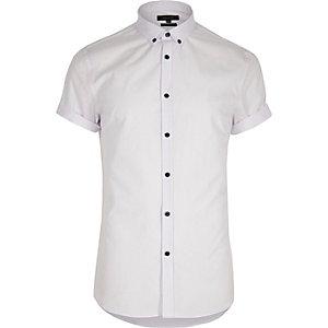 Wit casual slim-fit overhemd met korte mouwen