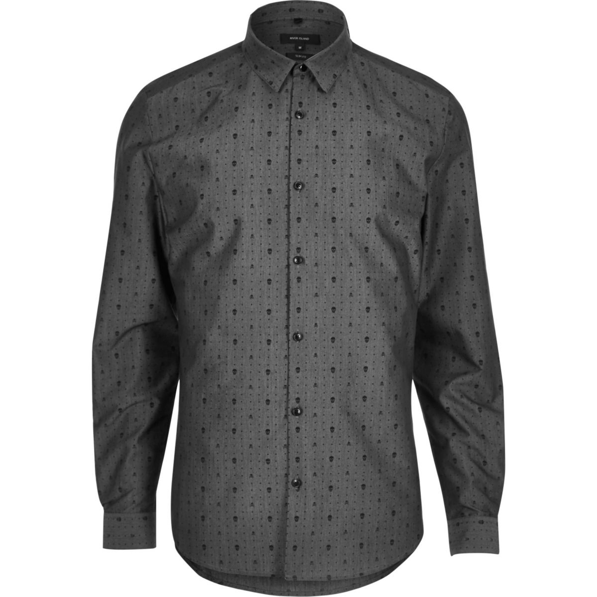 Grey smart skull print slim fit shirt