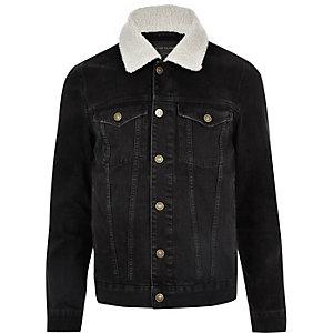 Veste en jean noir à col imitation mouton