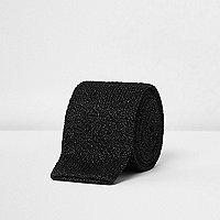 Cravate en maille noire pailletée