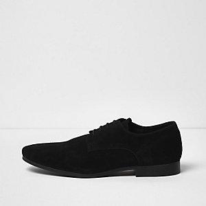 Black suede smart derby shoes