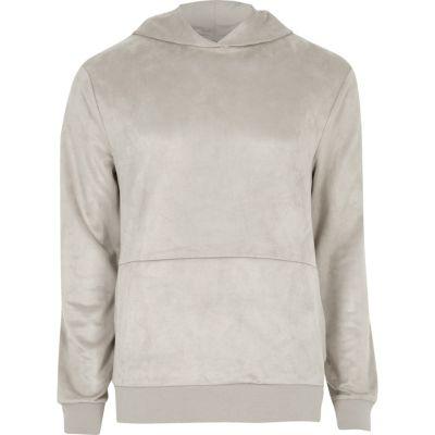 Kiezelkleurige hoodie met suède detail