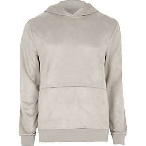 Stone suede panel hoodie