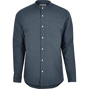 Lichtblauw net overhemd zonder kraag