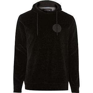 Sweat à capuche noir en velours avec logo