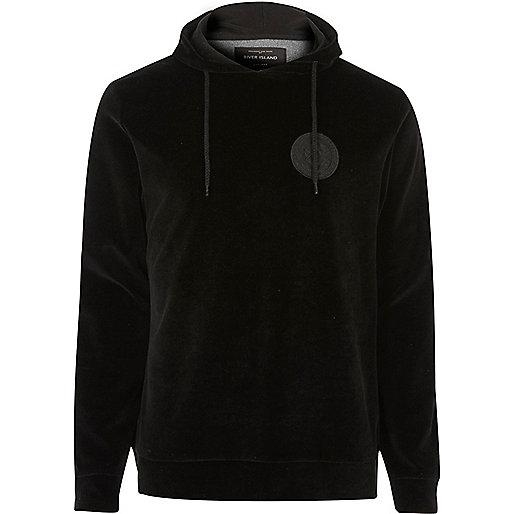 Black velour logo hoodie