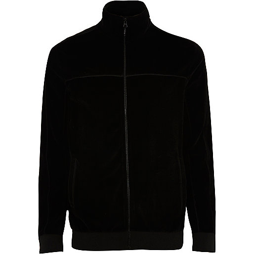 Black velour track jacket