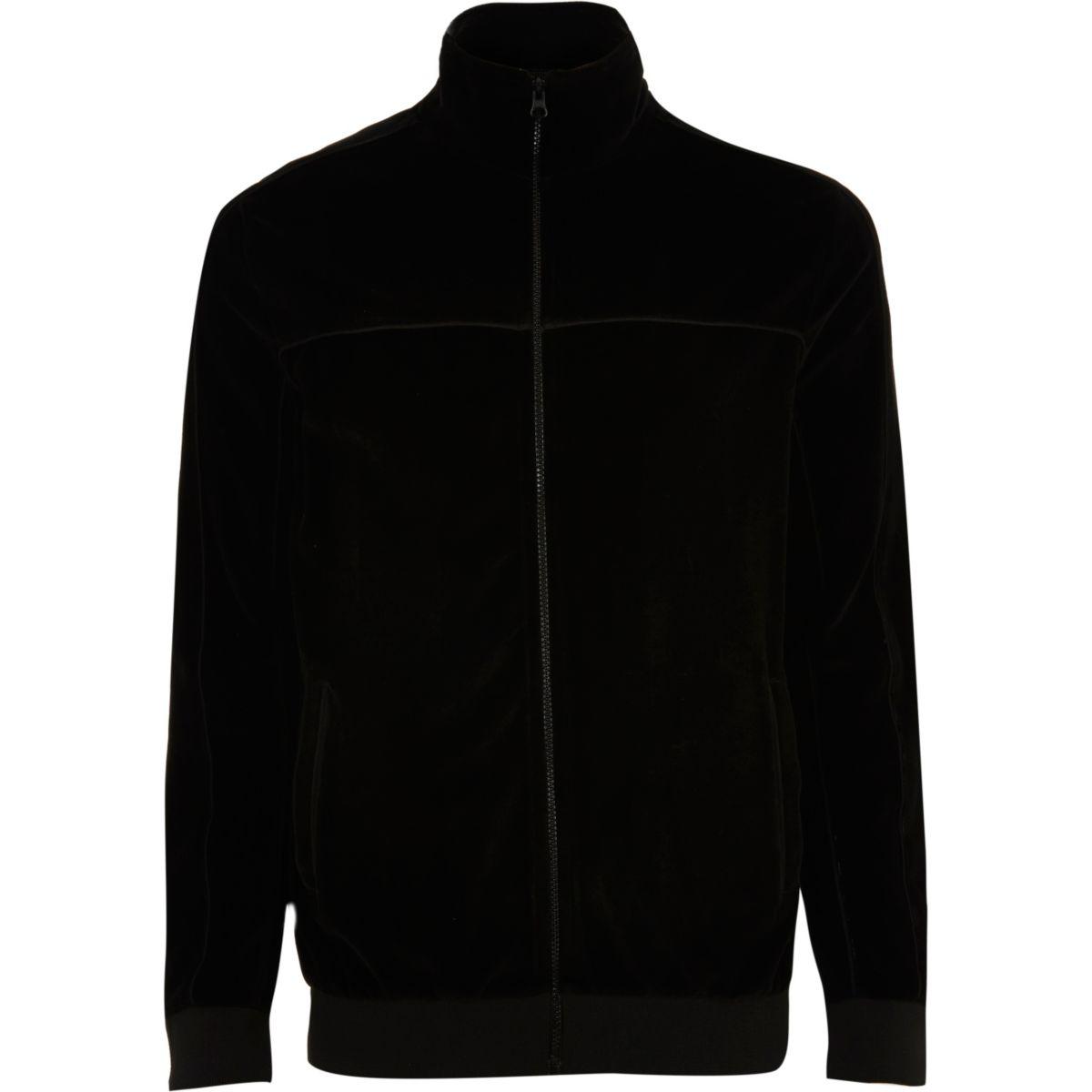 Black velour track jacket