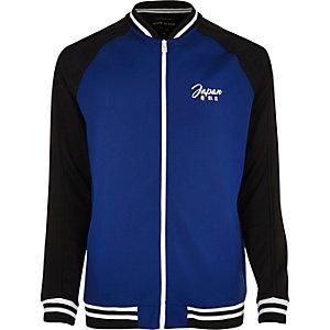 Blue eagle embroidered bomber jacket