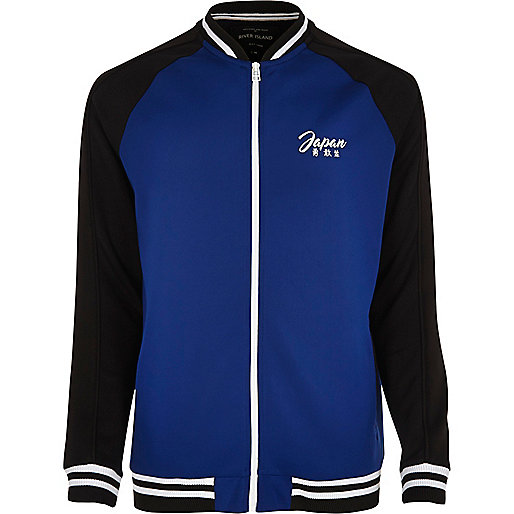 Blue eagle embroidered bomber jacket