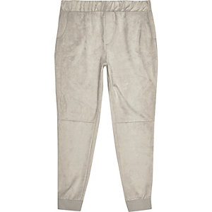 Stone suede panel joggers